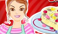 Барби на кухне готовит пудинг