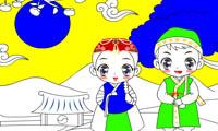 Раскраска брат и сестра