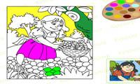 Раскраска девочки в поле