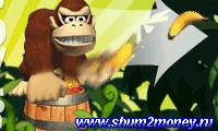 Обезьяна кидает бананы
