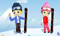 Дети катаются на лыжах